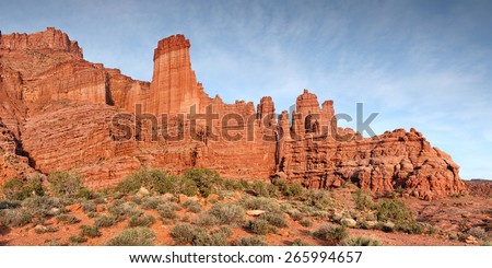fisher towers rock formation panorama in Southern Utah - stock photo