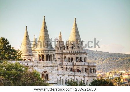 Fisherman bastion in Budapest, Hungary in the evening - stock photo