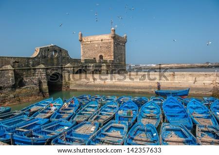 Fisherman boats in  Essaouira port, Morocco - stock photo
