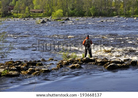 Fisherman catches of salmon fly fishing in the river at spring - stock photo