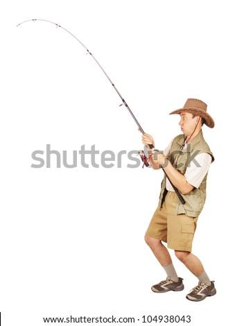 Fisherman caught a big fish - stock photo