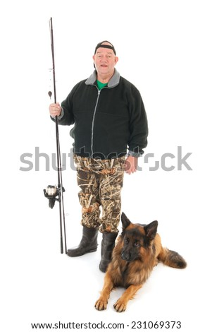 Fisherman fishing with rod and dog isolated over white background - stock photo