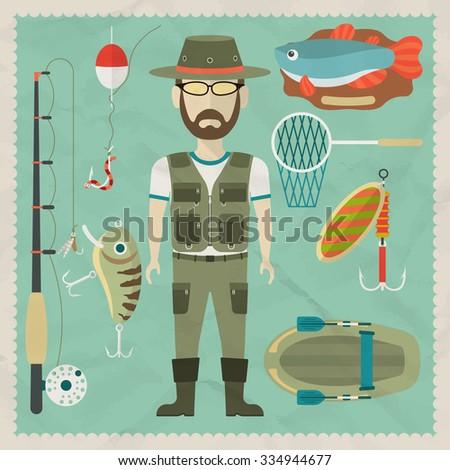 Fisherman flat character.  Fishing flat icons. Raster version - stock photo