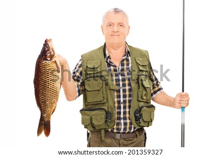 Fisherman holding a fish and a fishing rod isolated on white background - stock photo