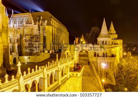 Fisherman's bastion night view, Budapest, Hungary - stock photo