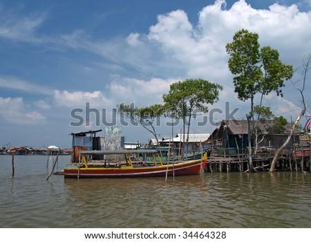 fisherman's village in Belawan - stock photo