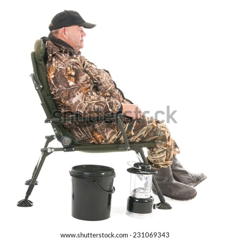 Fisherman standing full body isolated over white background - stock photo