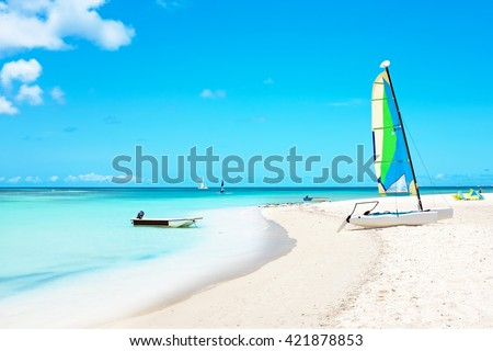 Fishermans Huts on Aruba island in the Caribbean Sea - stock photo