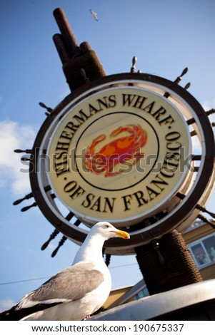 Fishermans Wharf Sign - San Francisco, California USA - stock photo