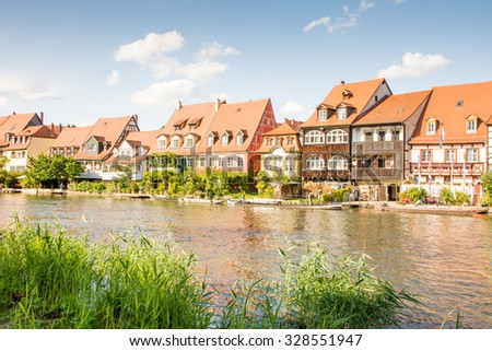 Fishermen's houses from the 19th century in Klein-Venedig (Little Venice) in Bamberg. - stock photo