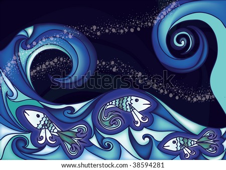 fishes in wavy sea - stock photo