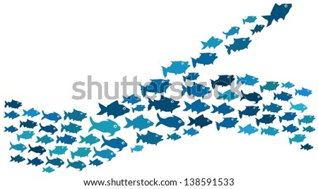 Fishes swim in majority and minority direction - stock photo