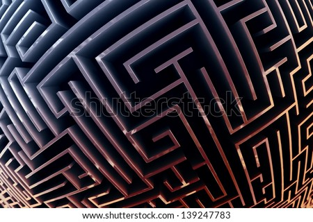 Fisheye style picture of a maze with colorful walls. - stock photo