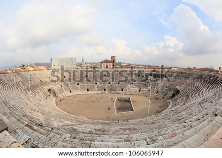 fisheye view of ancient arena of Verona, second largest Roman amphitheatre after Colosseum in Italy - stock photo