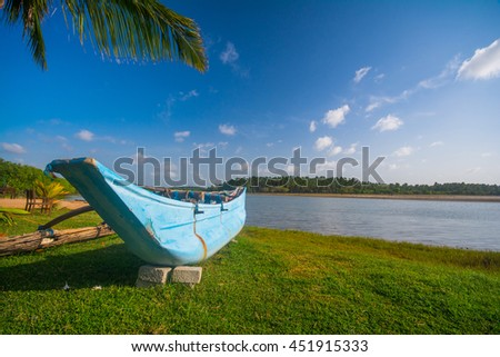 Fishing boat and a coconut palm tree in Trincomalee, Sri Lanka - stock photo