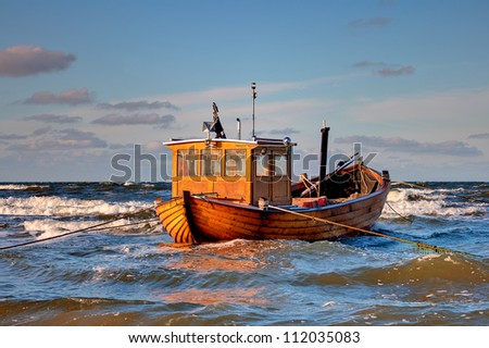 Fishing Boat at Baltic Sea Coast of Usedom Island, Germany - stock photo