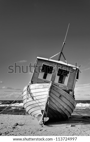 Fishing Boat at the Baltic Sea Coast of Usedom Island, Germany - stock photo
