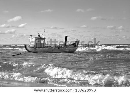 Fishing Boat, Baltic Sea Coast of Usedom Island, Germany - stock photo