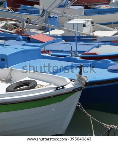 Fishing Boat Detail in Elounda, Crete, Greece - stock photo
