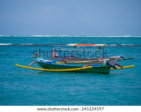Fishing boat in Bali Indonesia - stock photo