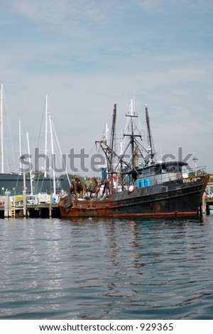 fishing boat in harbor Rhode Island - stock photo