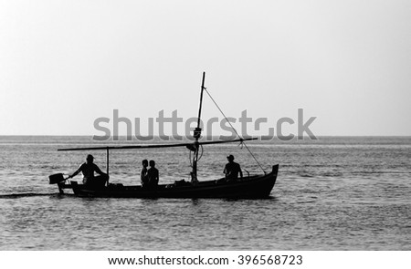 Fishing Boat in The Indian Ocean - stock photo