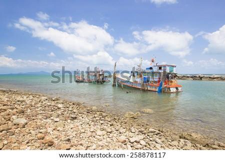 Fishing boat in the sea at Koh samui Suratthani Thailand - stock photo