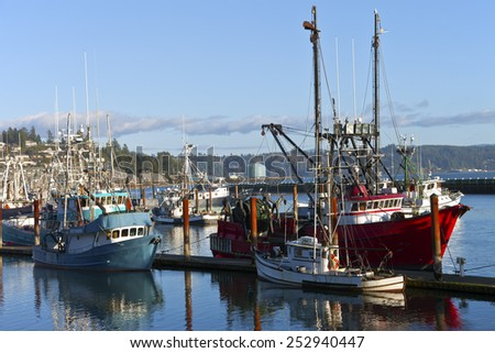 Fishing boat moored in Newport Oregon. - stock photo