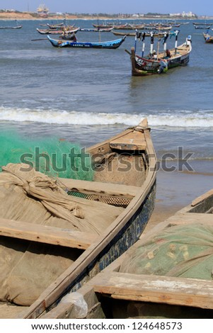 Fishing boats and nets in Jamestown, Accra, Ghana - stock photo