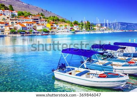 Fishing boats at the coast of Kefalonia, Greece - stock photo