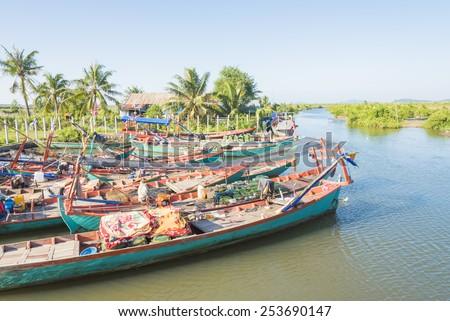 Fishing boats, Cambodia. - stock photo