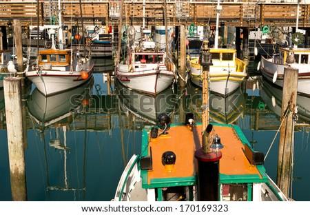 Fishing Boats Docked - stock photo