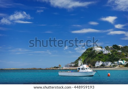 Fishing boats in Island bay Wellington, New Zealand. - stock photo