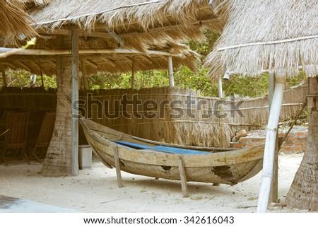 Fishing boats in Nha Trang, Vietnam - stock photo