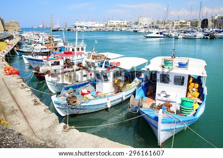 Fishing boats in port in Heraklion, Crete Island, Greece - stock photo