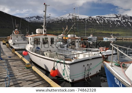 Fishing boats in Seydisfjordur, East fjords, Iceland - stock photo