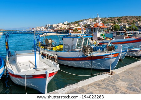 Fishing boats in the harbor of Elounda. Crete, Greece, Europe  - stock photo