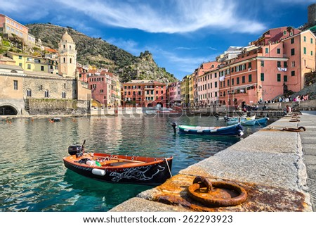 fishing boats in Vernazza Italy - stock photo