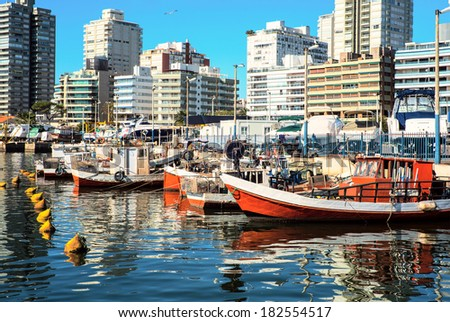 Fishing boats, Punta del Este, Uruguay - stock photo