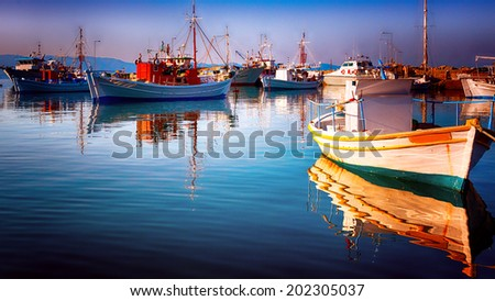 fishing boats resting - stock photo