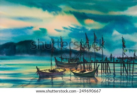 Fishing boats still anchor near wooden pier with beautiful sun set background; original watercolor painting - stock photo