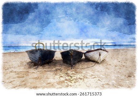 Fishing boats under a brooding sky at Durley Chine on Bournemouth beach. - stock photo