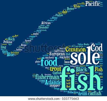 fishing concept pictogram tag cloud on blue background - stock photo