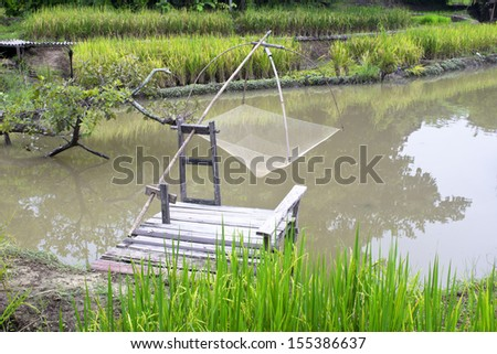Fishing equipment, fishing net and rice are pregnant. - stock photo