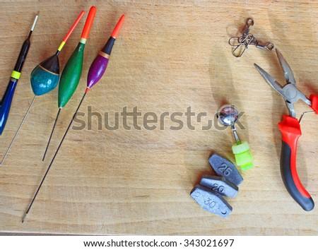 Fishing equipment frame. - stock photo