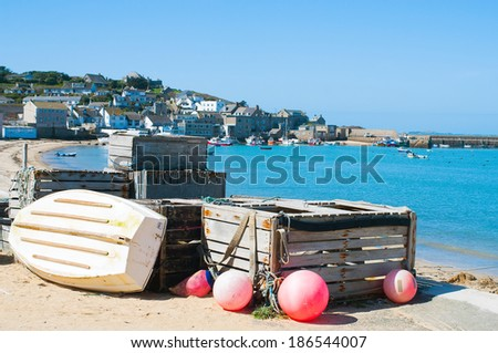 Fishing equipment on the Isles of Scilly. - stock photo