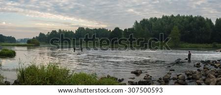 fishing, fishing in a lake, nature series - stock photo