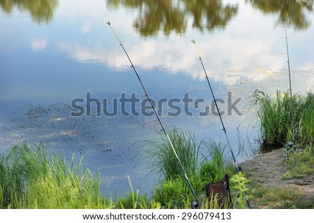 Fishing, fishing on the lake - stock photo