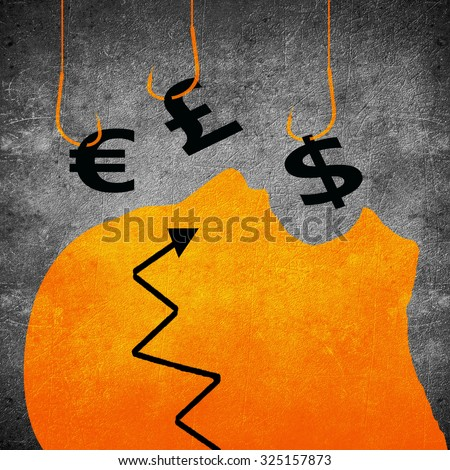 fishing hook and money symbol business concept digital illustration - stock photo