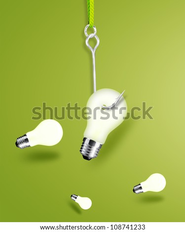 fishing hook hanging  lightbulb. - stock photo
